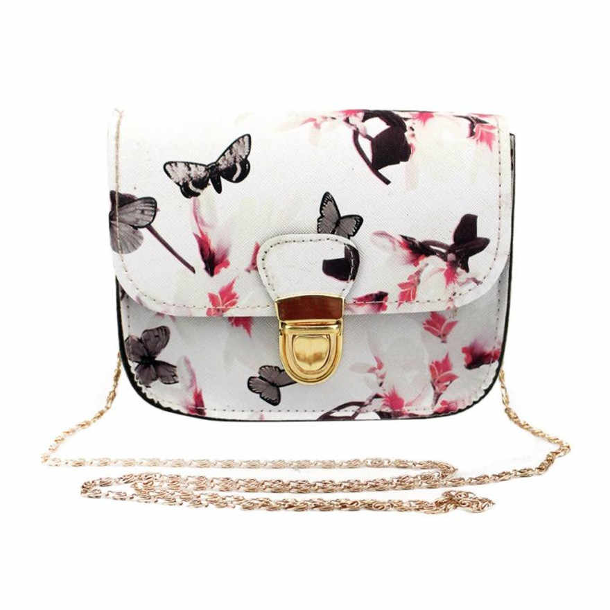 Molave Tas Tas Perempuan Tas untuk Perempuan Pengait Wanita Kupu-kupu Bunga Cetak Tas Bahu Tote Kurir Tas Jul18PY