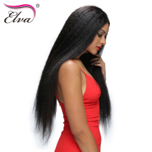 Elva Hair Kinky Straight Lace Front Human Hair Wigs For Black Women Brazilian Remy Hair Wigs Pre Plucked 10″-24″ Natural Color