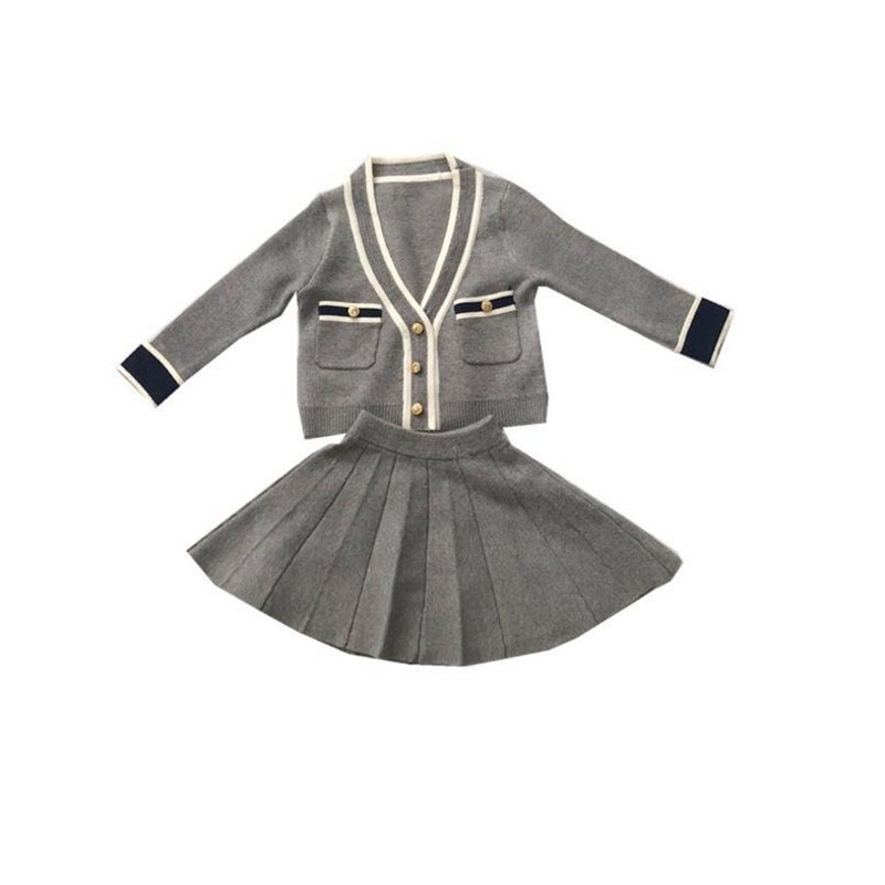 DFXD High Quality Autumn Toddler Girls Clothing Set Little Girl Long Sleeve V-neck Single-breasted Sweater+Pleated Skirt 2pc Set alfani women s long sleeve marilyn cowl neck tunic sweater emerald 2x