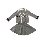 DFXD High Quality Autumn Toddler Girls Clothing Set Little Girl Long Sleeve V neck Single breasted Sweater+Pleated Skirt 2pc Set