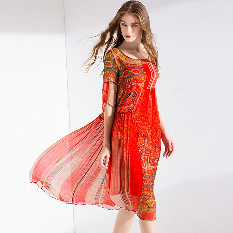 100 Silk Dress Women Printed Asymmetrical Design O Neck Half Sleeves High Waist Fabric Beach Dress