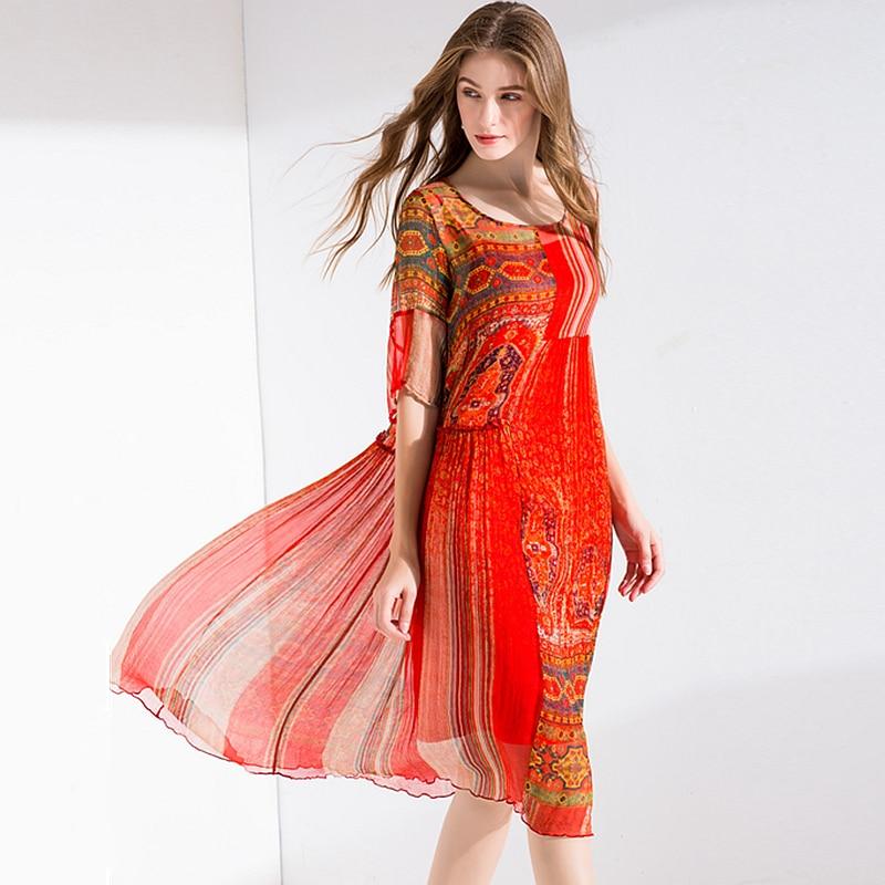 100 Silk Dress Women Printed Asymmetrical Design O Neck Half Sleeves High Waist Fabric Beach Dress