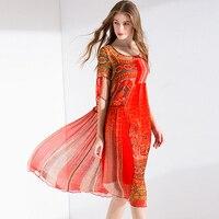 100% шелк платье Для женщин с принтом асимметричный дизайн с круглым вырезом Половина рукава Высокая Талия ткань пляжное платье Новинка; модн