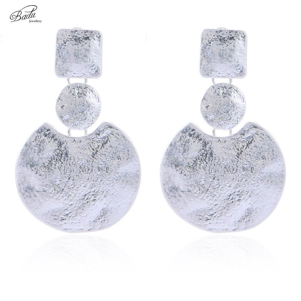 Badu Antique Silver Dangle Earring Punk Geometry Cool Vintage Jewelry Women Round Drop Earrings Girls Gift