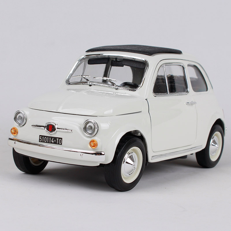 Maisto 1:18 1965 Fiat 500f beige car diecast 185*85*87mm open doors classic motorcar diecast collecting car models as gift 12020