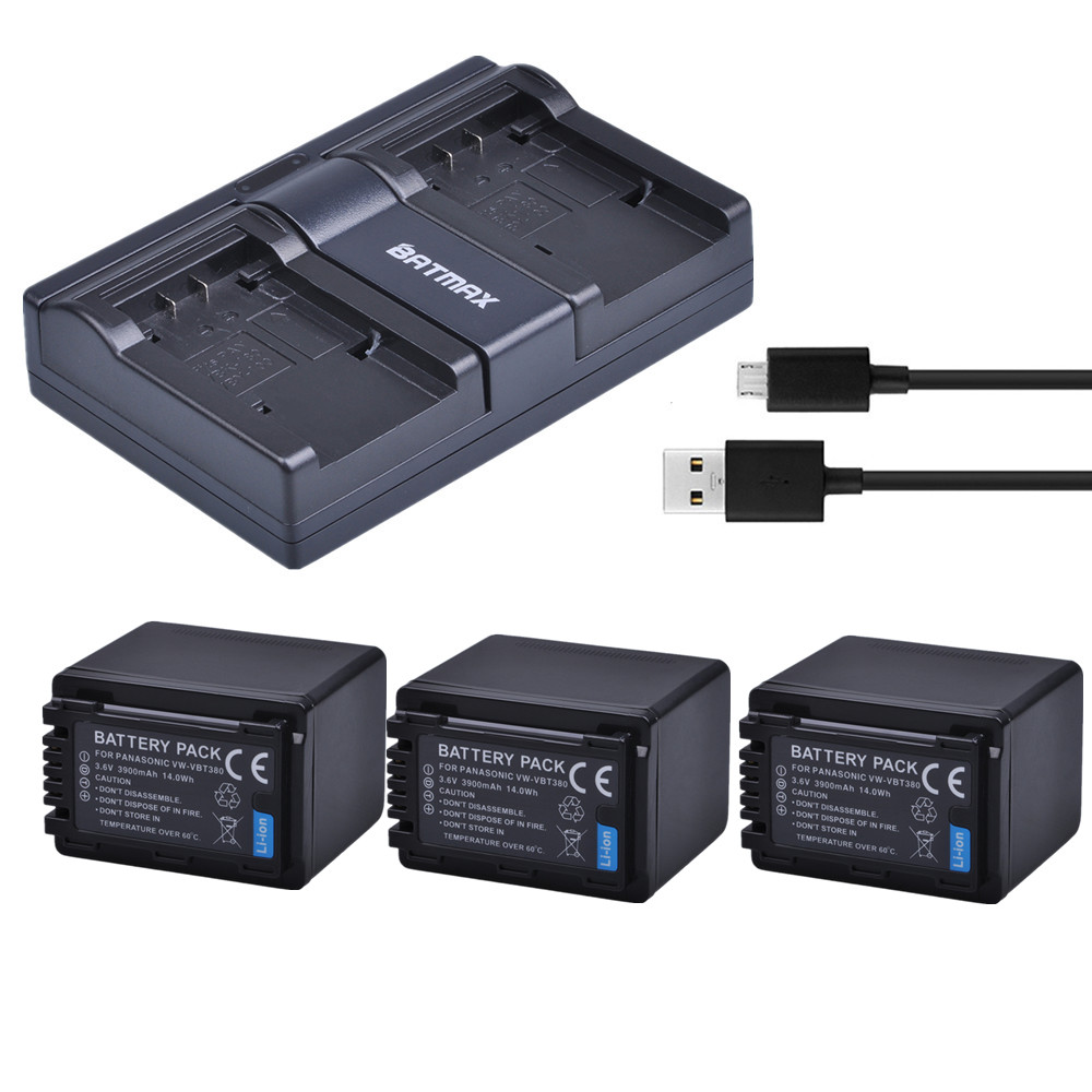 Batmax 3PCS VW-VBT380 VBT380 VW-VBT190 Battery+USB Dual Charger For Panasonic HC-V110,HC-V130,HC-V160,HC-V180,HC-V201,HC-V250, hc 1512