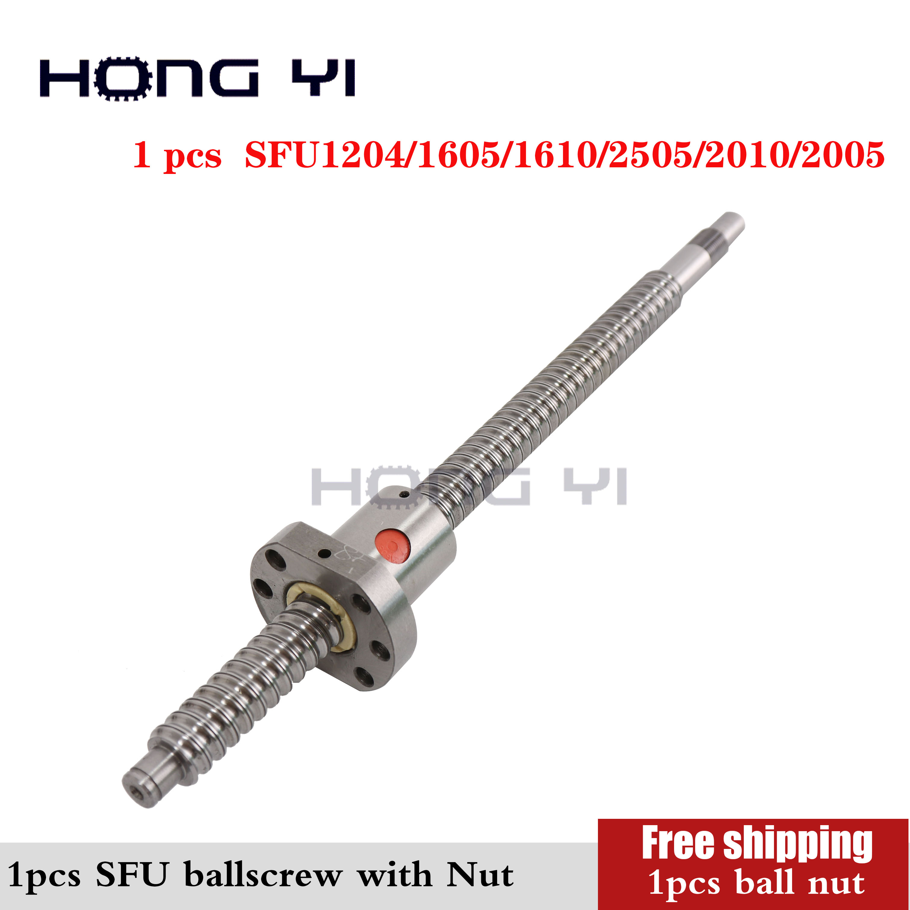 SFU1204 /1605/1610/2505/2010/2005+ Ball Screw Nut + End Processing Can Choose Length For CNC Parts Rolled Ballscrew