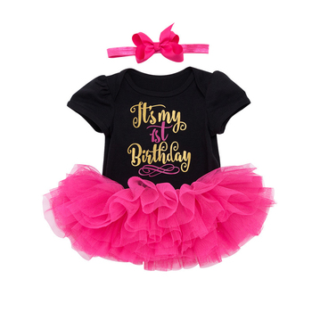 fashion Birthday Baby Girl Outfits Dress Party Infant Tutu Little Girls Toddler Clothes Short sleeve letter romper 3pcs