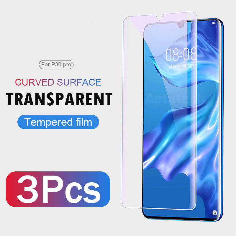 3PCS lot 9H 2 5D Tempered Glass For Huawei P30 Pro Screen Protector on P30 Full Curved Edge Protective Glass For Huawei P30 Pro in Phone Screen Protectors from Cellphones Telecommunications