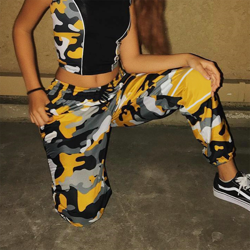 Women Casual Harem Trousers Yellow Camouflage Pint Sweat Pants High Waist Thin Sweatpants Autumn Camo Trousers Joggers