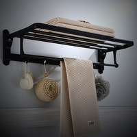 Bathroom Towel Rack Aluminum Black/White 50 60 cm Towel Holder Folding Wall Mounted Bathroom Towel Rail Holder Towel Hanger Bar