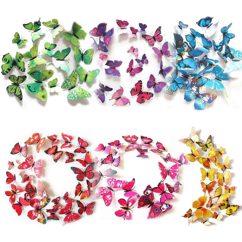 product 2017 12pcs 3D Wall Stickers PVC Magnet Butterflies DIY Wall Sticker Home Decor Wall Decals Pegatinas de pared 6 Colors 50x120cm