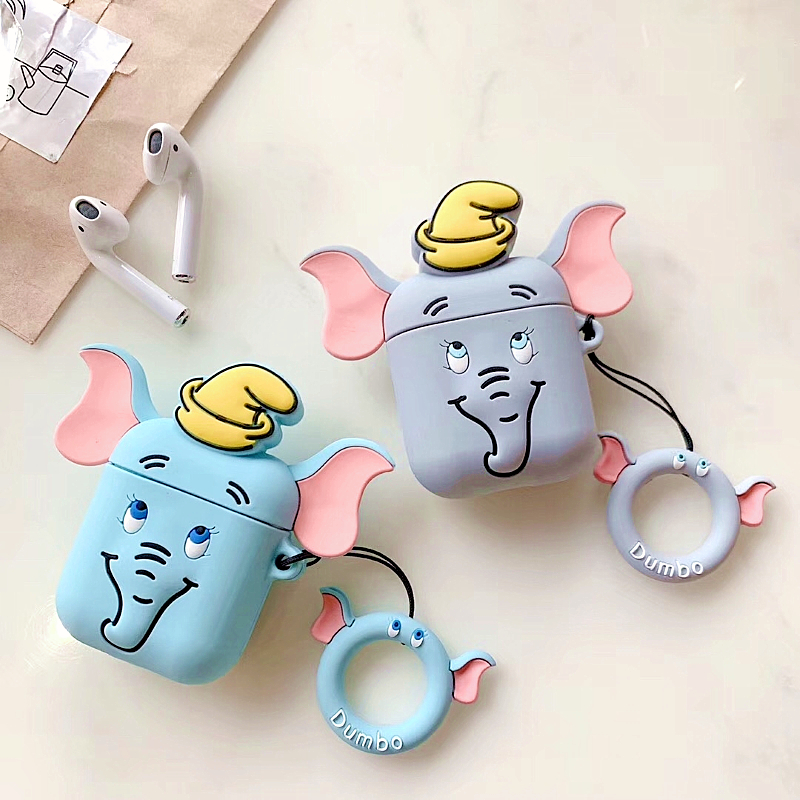 3D Cartoon Dumbo silicone airpods case for Apple Airpods1/2 Wireless Bluetooth Charging Headphones Earphone Protective Box Cover3D Cartoon Dumbo silicone airpods case for Apple Airpods1/2 Wireless Bluetooth Charging Headphones Earphone Protective Box Cover