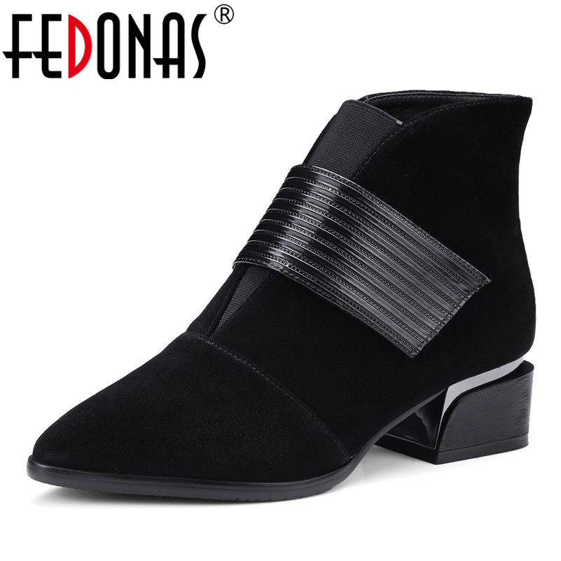 FEDONAS Fashion Brand Genuine Leather Women Ankle Boots High Heel Autumn Winter Snow Martin Shoes Woman Motorcycles Boots ppnu woman winter nubuck genuine leather over the knee snow boots women fashion womens suede thigh high boots ladies shoes flats
