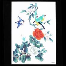 Flower Bird Decal 1 Sheet Waterproof Tatoo DIY Henna Leaf HB554 Temporary Tattoo Sticker For Women Men Body Art Sexy Makeup Tool
