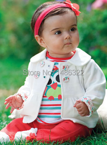 3 Unids ropa Para Bebés de Invierno Búho Top Coat + t-shirt + Pants Pantalones Caliente Traje Traje Conjunto ropa