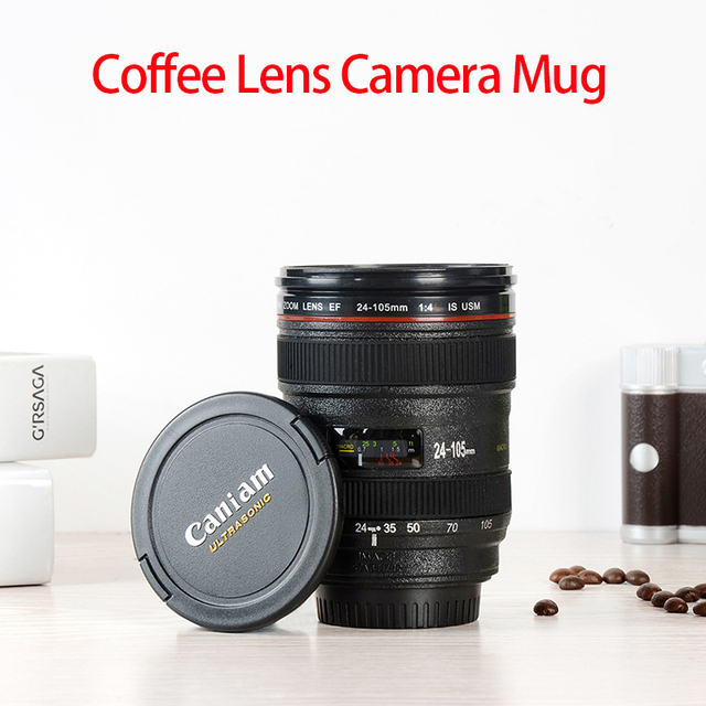 2019 New Coffee Lens Emulation Camera Mug Beer Mug Wine With Lid Black Plastic Cup Caniam Logo Mugs Cafe 400ml 5