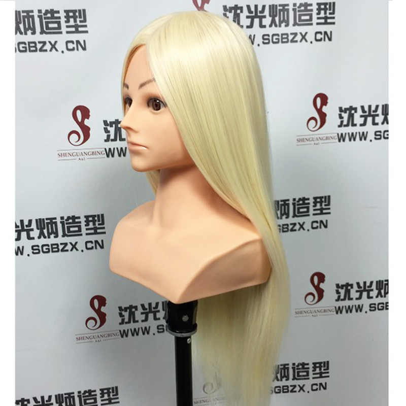 Big Sale Professional styling head With blonde Hair 65cm Thick Hair Wig Heads For Hairdressers Training Head Nice Mannequin Head