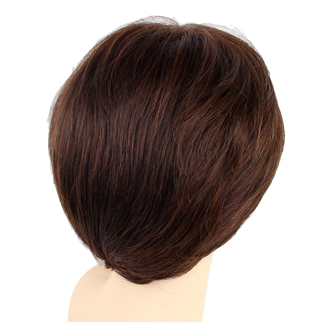 все цены на Women Shaggy Short Straight Full Wigs with Oblique Bangs Real Human Hair Wig Fashion Fringe Hairstyle with Cap Natural Brown