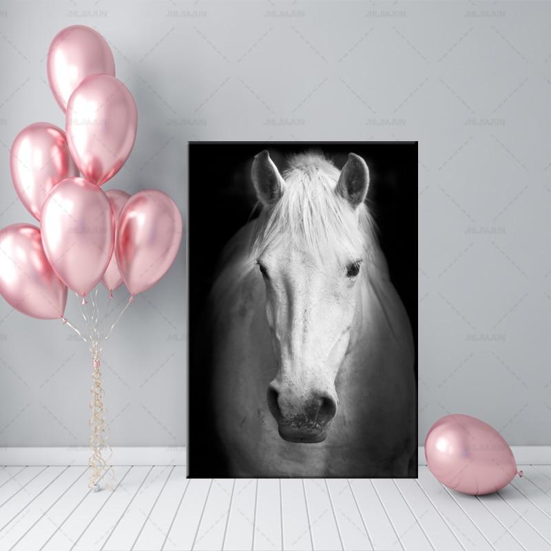 Art moderne Animal blanc cheval noir et blanc photo mur Art toile affiche murale photo pour salon moderne décor à la maison
