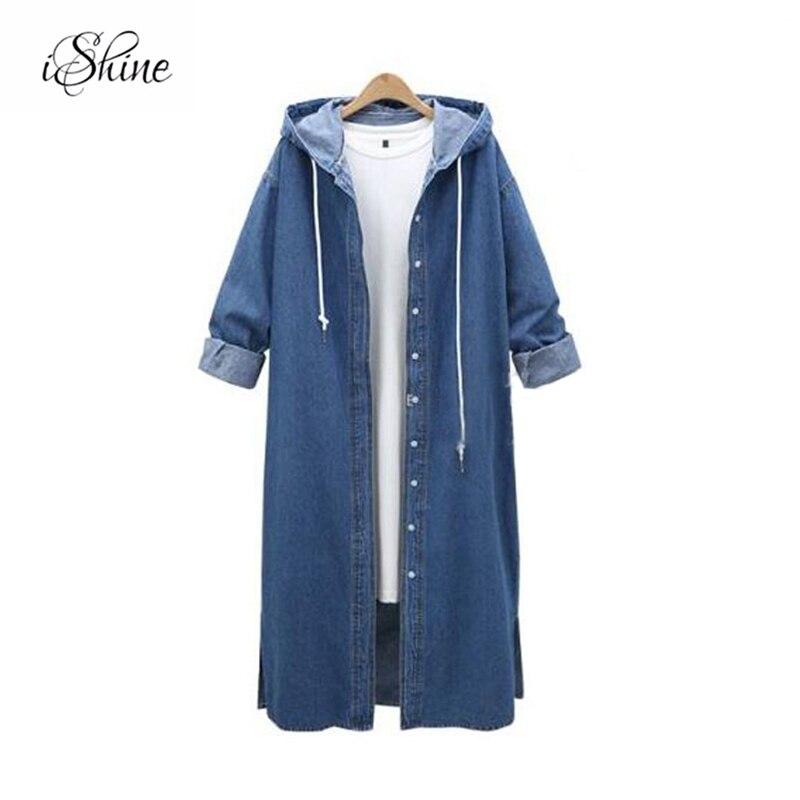 2017 New Spring Denim Blue Long Jacket Coats Self-tie Hooded Side Split Long Sleeve Plus Size Basic Jackets Femme Jean Outwear