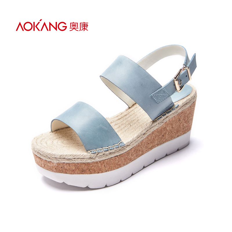 AOKANG 2017 Women Summer Shoes genuine leather shoes Fashion Summer Women's Sandals Women High heels shoes Free shipping