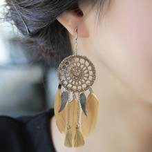 Dream Catcher Hollow out Vintage Leaf Feather Dangle Earrings For Women Bohemia Style Earring Lady's Ethnic Indian Jewelry(China)