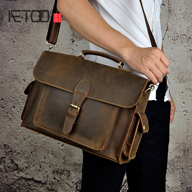 AETOO NEW genuine leather Brand Men handbag Business Briefcases bag Cow Crazy Horse Leather messenger Shoulder High capacity Han