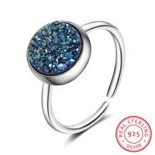 Круглое Кольцо из стерлингового серебра 925 пробы с голубым