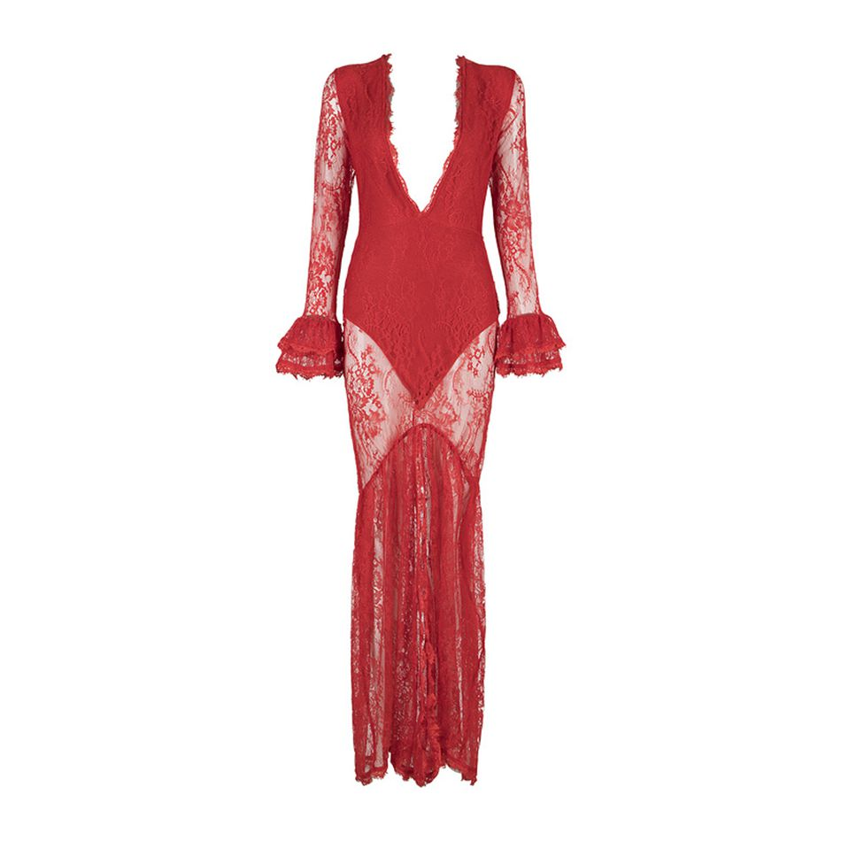 Robe Dentelle Nouvelle Celebrity Bandage Party Robes Profond Col Flare Noir rouge Femmes Gros De Maxi Manches En V Sexy dqw7nxrq