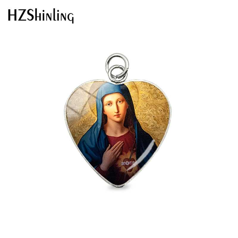 2019 New Fashion Virgin Mary Heart Pendants Our Lady of Guadalupe Jewelry Glass Art Picture Stainless Steel Charm for Christians