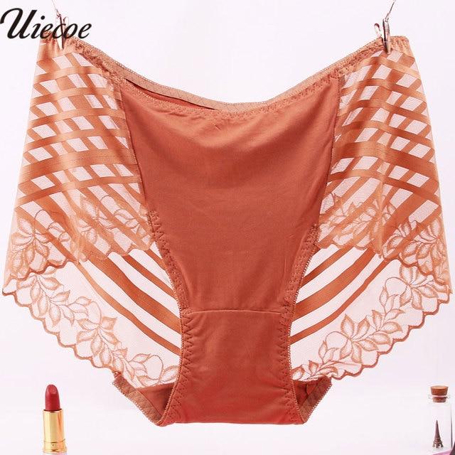 7042388cd UIECOE Plus Size 4XL Intimates Underpants Women Lingerie Boyshorts Sexy  Lace Seamless Transparent Mid-Rise Women Panties