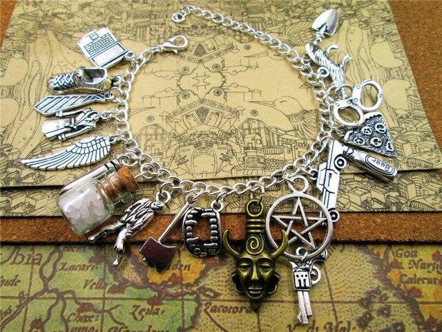 Venta caliente pulsera inspirada Supernatural de lujo Fandom encanto pulsera plata tono encantos pulsera