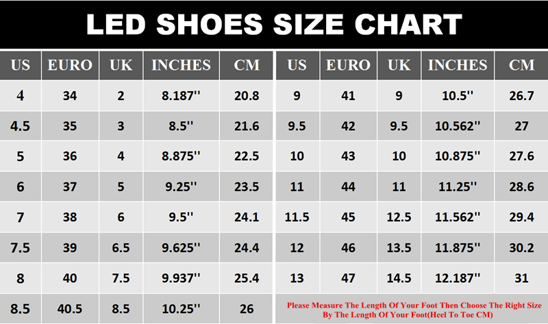 LED SHOES SIZE CHART