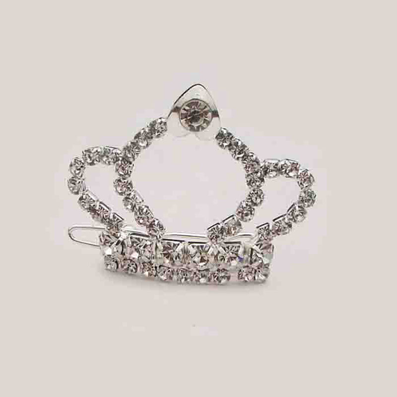 Unique designer new free shipping 6pcs lot silver rhinestone dog crown barrette charm lady's hair fashion jewelry accessory