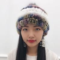 Princess hat rabbit fur grass hat ladies winter thick warm earmuffs woven fox ball knit hat cute