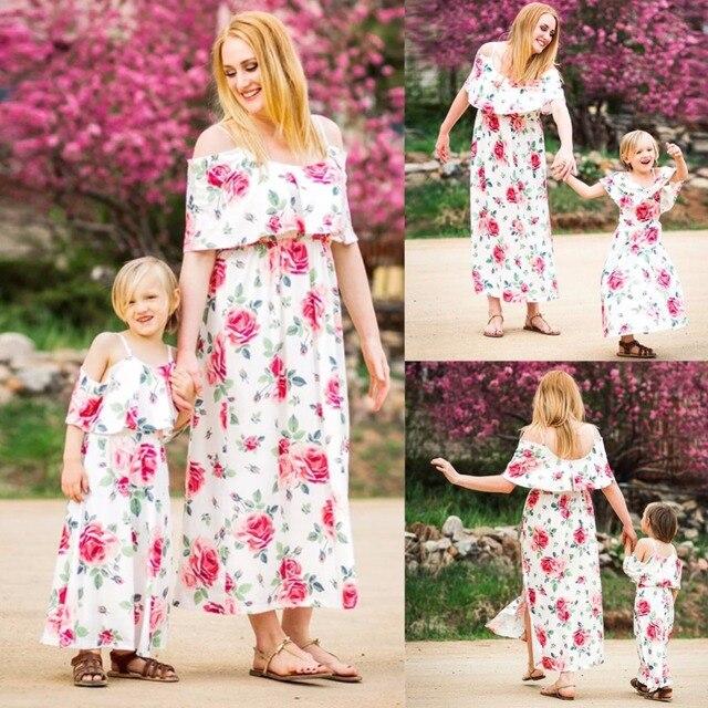 2bdefe164de4 New Summer Family Match Floral Dress Mother Daughter Off Shoulder Boho Maxi  Dress Women Kid Girls Sundress Casual Family Clothes