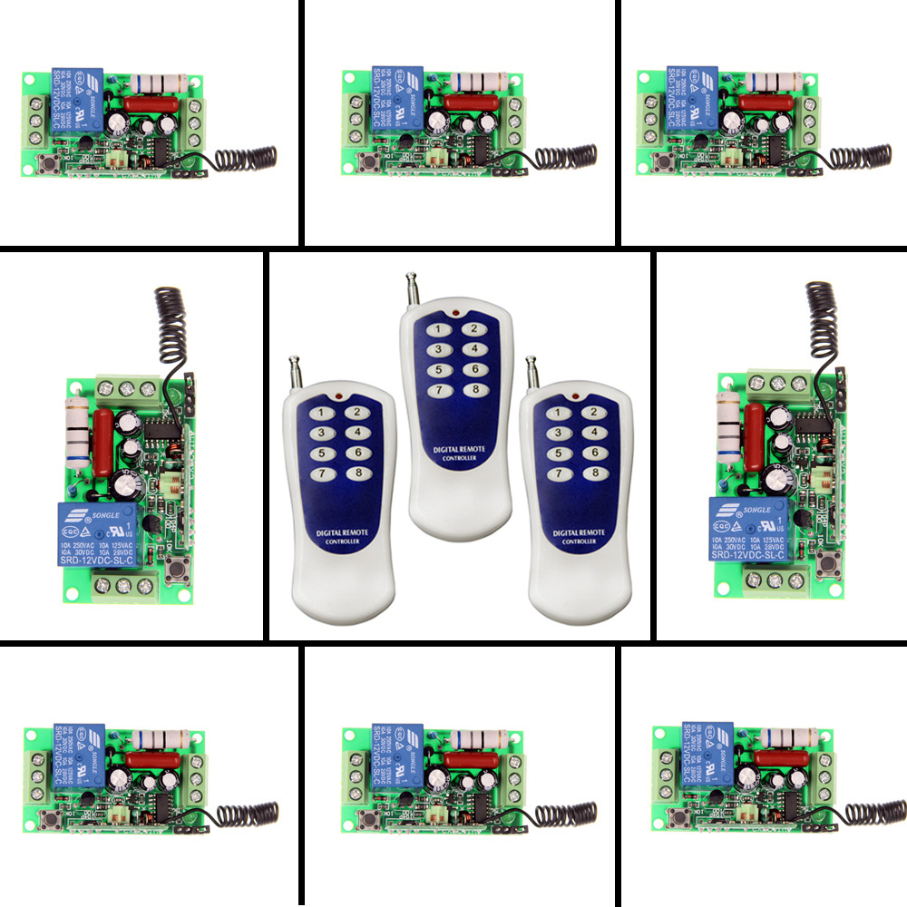 AC 220V 110V 1 CH 1CH RF Wireless Remote Control Switch System,(3 Transmitter+8 Receiver),Toggle Momentary,315/433.92 MHZ ac 220v 30a 1ch rf wireless remote control switch system 315 433 mhz 6ch transmitter & 6 x receivers momentary toggle sku 5519