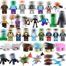 1 шт. новые миниатюрные фигурки строительные блоки эндермен Стив зомби животные Свинья птица Дракон Кирпичи Детские развивающие игрушки