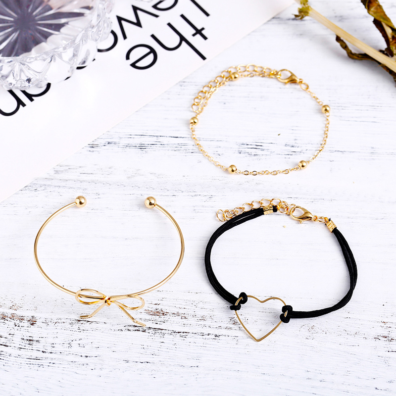 Cuteeco 3PCS Set Fashion Bow Bracelet Lovely Heart Black Rope Chain Retro Bow Knot Bracelet For Women Party Jewelry 2019 New in Strand Bracelets from Jewelry Accessories