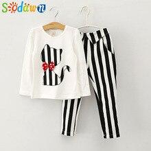 Sodawn/осенняя одежда для маленьких девочек футболка с длинными рукавами и рисунком кота+ полосатые леггинсы, костюм комплект одежды для девочек, одежда для детей