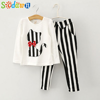 Sodawn/осенняя одежда для маленьких девочек футболка с длинными рукавами и рисунком кота + леггинсы в полоску комплект одежды для девочек, детс...