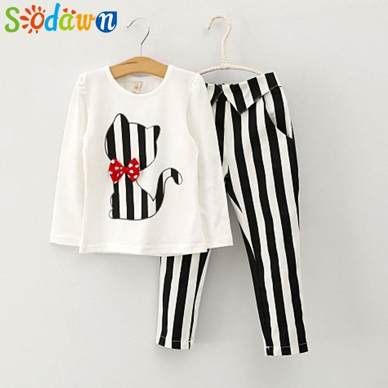 Sodawn Autumn Baby Girl Clothes Cat Cartoon Long-Sleeve T-Shirt + Stripe Legging Suit Girls Clothing Set  Children Clothing