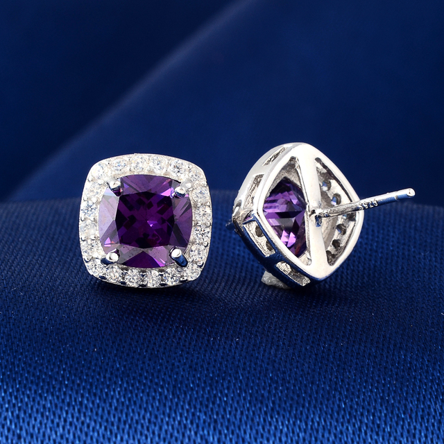 Brand Jewelry Natural Amethyst Earrings Genuine 925 Sterling Silver Earrings Brand Women'S Wedding Jewelry