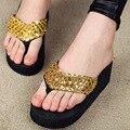 Sandalias de las mujeres comfort Lentejuela beach sandalias de cuña 2016 de moda de Verano zapatos de las mujeres