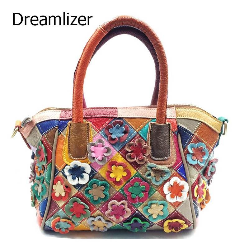 Dreamlizer Random Flower Design Genuine Leather Bags Handbags High Quality Female Pattern Totes Fashion Women Messenger Lady аксессуары для косплея random beauty cosplay