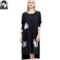 High Quality Women Loose large size irregular dress spring autumn elegant Dot Print Pocket Decoration casual dresses women dress