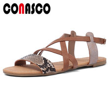 CONASCO Vintage Sandals For Women High Qulity Casual Flat Sandals Leisure Non-Slip Beef Tendon Summer Sandals Basic Shoes Woman(China)