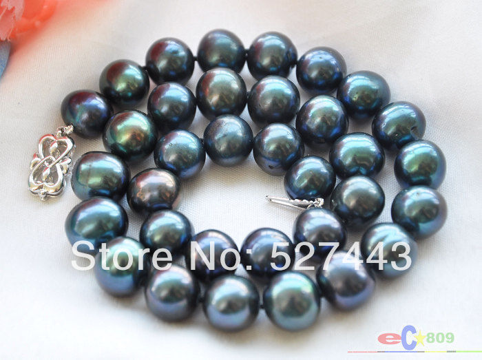 Wholesale free shipping >>P4152 HUGE 12mm ROUND PEACOCK BLACK FW PEARL NECKLACE 17IN цена и фото
