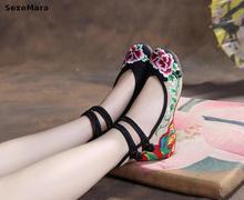 2017 Новый Старый Пекин Обувь женская мэри джейн Китайский Плоский Каблук Вышивка Обувь Удобные Мягкие Холст Обувь Плюс Размер 41